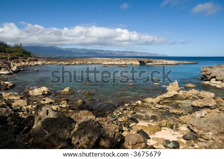 The second best snorkeling site in Oahu. - stock photo