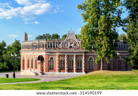 The Second Cavalry Corps of the Palace of queen Catherine the Great in Tsaritsyno, Moscow, Russia. Tsaritsyno - the largest in Europe, pseudo-Gothic building of the XVIII century.