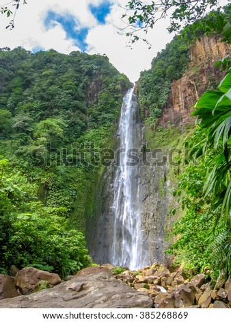 The second of three Carbet Falls, a series of waterfalls on the Carbet River in Basse-Terre in a tropical rainforest on lower slopes of  volcano La Soufriere., Guadeloupe, Caribbean.  - stock photo