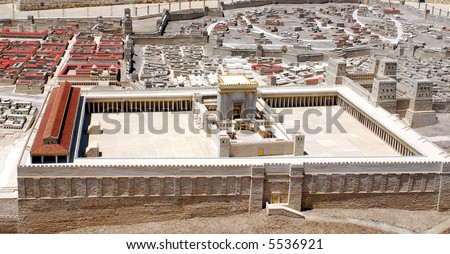 The second temple model, Israel - stock photo