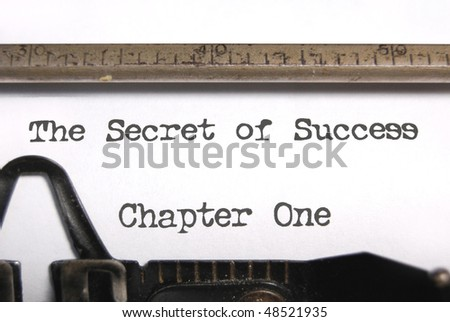 The secret of success typed on an old typewriter - stock photo