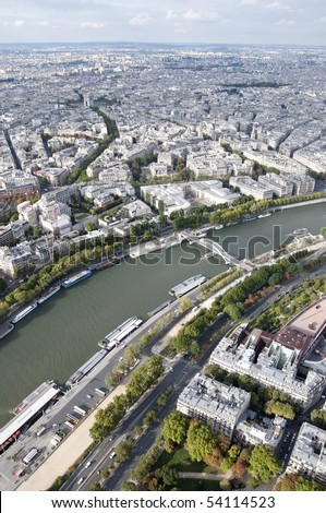 The Seine is a slow-flowing major river  and commercial waterway within the regions of Ile-de-France and Haute-Normandie in France. - stock photo