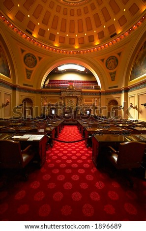 The senate convention room of the MN State Capitol building. More with keyword Series002