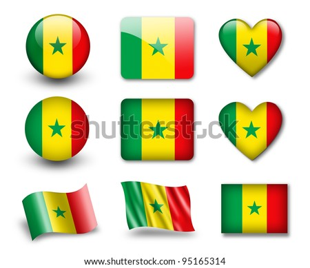 The Senegal flag - set of icons and flags. glossy and matte on a white background.