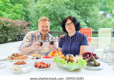 The senior couple drink red wine on terrace in sunny day