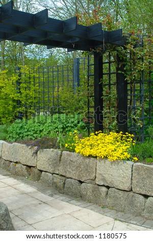 The sensory gardens at Aden House Aberdeenshire - stock photo