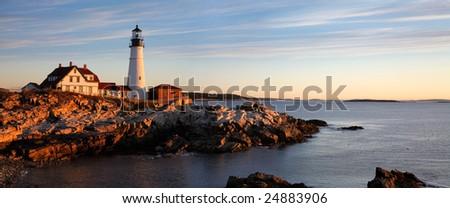 The Serene Beauty Of The Portland Head Light At Dawn, Portland Maine - stock photo