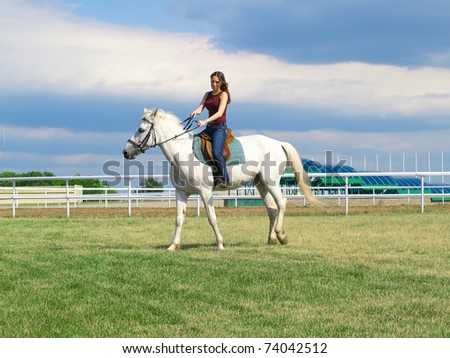 The serenity young girl astride a horse. Shallow DOF - stock photo