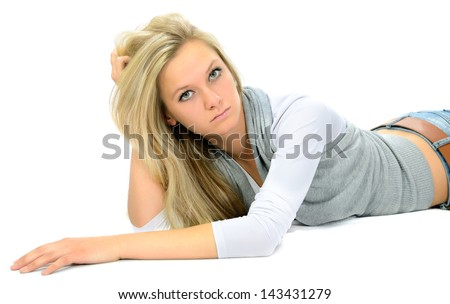 The serious girl on a white background.