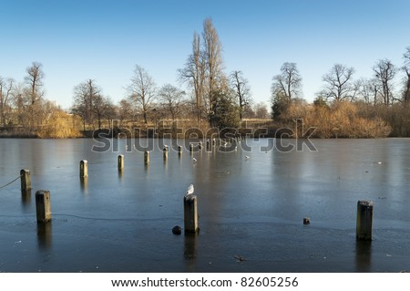 The Serpentine is a 11 ha recreational lake in Hyde Park, London, England, created in 1730 - stock photo