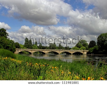The Serpentine Lake and Serpentine Bridge in London - stock photo