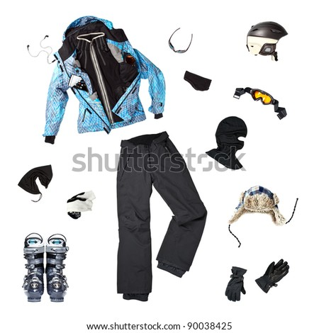 The set of all necessary woman skier clothing and accessories for winter fun outdoors, isolated over white background - stock photo