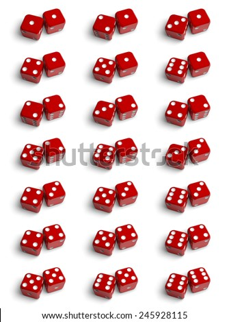 The set of all possible combinations of dices. 3d illustration on the white background