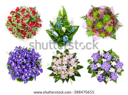 The set of bouquets of flowers, orchids,  lilies, roses, callas, hand bells. iris isolated on the white, top view - stock photo