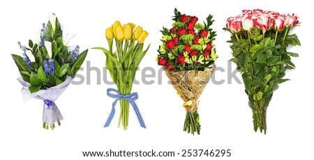 The set of bouquets of flowers, tulips, orchids, roses, callas hand bells. isolated on the white - stock photo