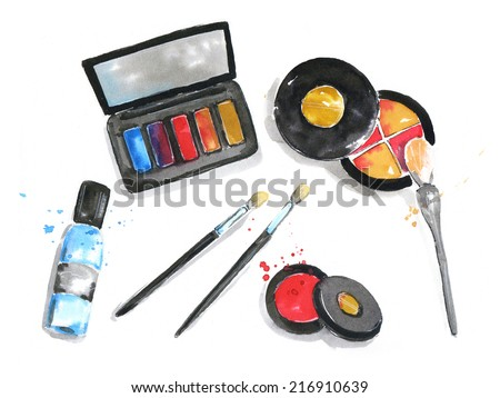The set of cosmetics. watercolor - stock photo