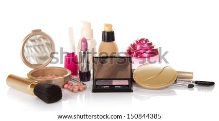 The set of decorative cosmetics, bottle of perfume and nail varnish, isolated on white - stock photo