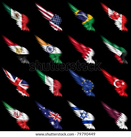 The Set of european, african and american flags on wings - stock photo