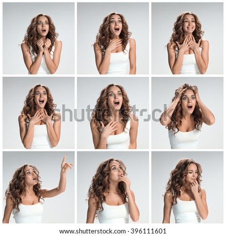 The set of female portraites with shocked facial expression - stock photo
