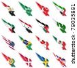 The Set of flags on wings and white background - stock photo