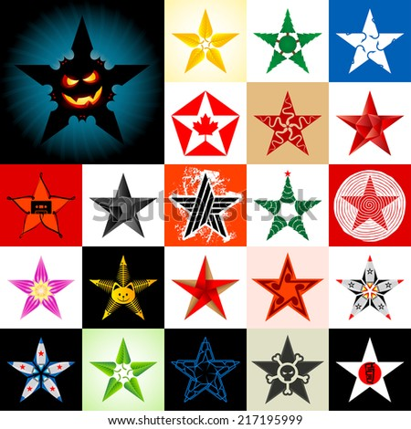 The set of original stars including Halloween theme - stock photo