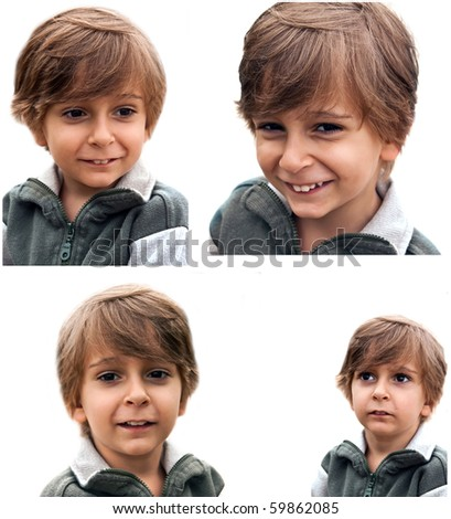 The set of portraits of emotional little boy. - stock photo