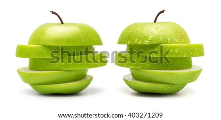The Set of Prefect Cleaned Green Apple Isolated on White Background in Full Depth of Field. - stock photo