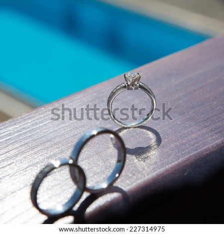 The set of wedding rings. close up - stock photo