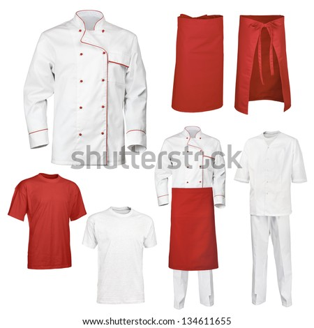 The set of white and red chef cook's clothes, isolated over white background - stock photo