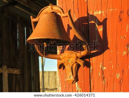 the setting sunlight on a longhorn steer bell - stock photo