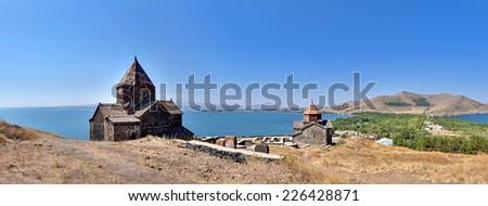The Sevan temple complex on the peninsula of the Lake Sevan, Armenia. - stock photo