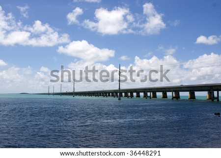 The Seven Mile Bridge in the Florida Keys connects Marathon with Little Duck Key. - stock photo