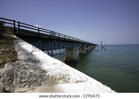 The seven mile bridge, the way to Key West - stock photo