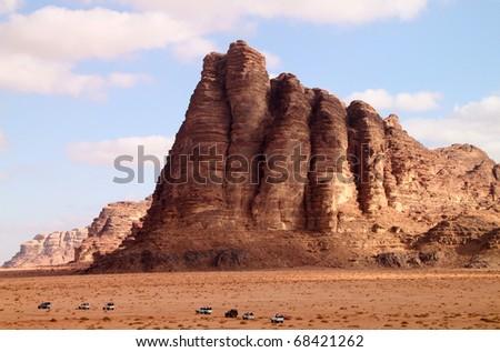 The seven pillars in Wadi Rum, Jordan - stock photo