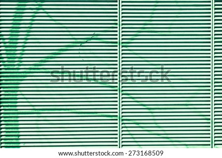 The shadow of a tree on a metal surface as an abstract image in green monochrome - stock photo