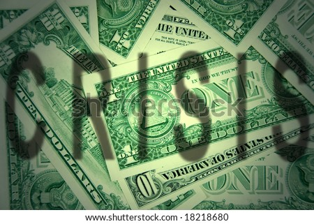 The shadow of the financial crisis over dollar. - stock photo