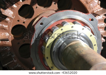 The shaft of an electric motor rotor, with bearing - stock photo