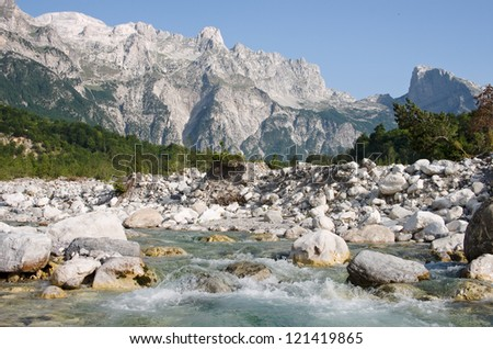the Shale River in Theth National Park, Albania - stock photo