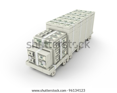The shape of a truck made of bills