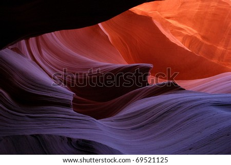 The Shape Of A Wave In Lower Antelope Canyon - stock photo