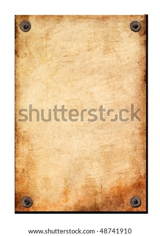The sheet of an old paper is attached by nails. - stock photo