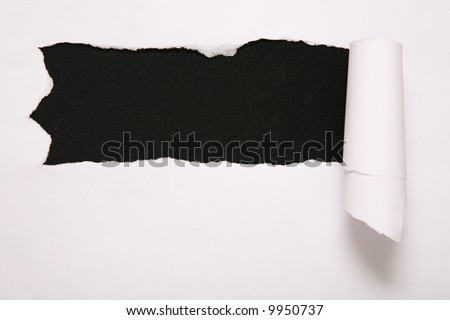 the sheet of torn paper against the black background 2