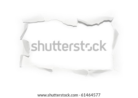 The sheet of torn paper (isolated) - stock photo