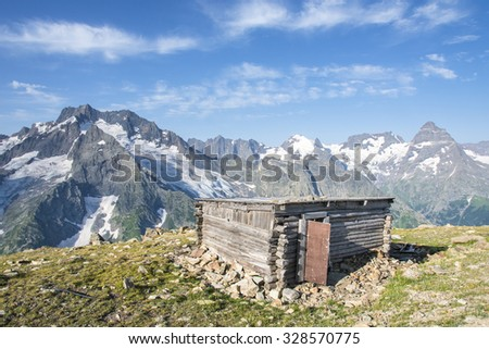 The shelter. The Mountains. Caucasus. Russia. Georgia. - stock photo