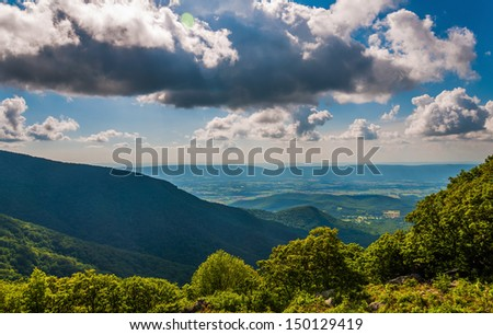 The Shenandoah Valley seen from an overlook on Skyline Drive in Shenandoah National Park, Virginia. - stock photo