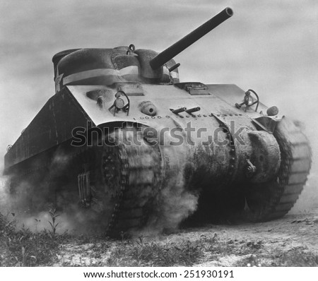 The Sherman tank was the primary battle tank of the U. S. and Western Allies from 1942-45. Nearly 50,000 were produced during World War 2. - stock photo