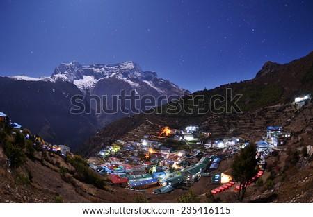 The Sherpa village Namche Bazar - Nepal Himalaya. - stock photo