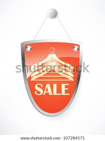 The shield, sale sign. - stock photo