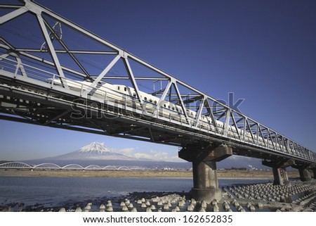 The Shinkansen passing through Mt. Fuji and the Fujikawa bridge