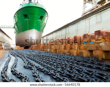 The ship in the dry dock during the overhaul... - stock photo